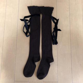 クツシタヤ(靴下屋)のロング靴下 リボン付き(ソックス)