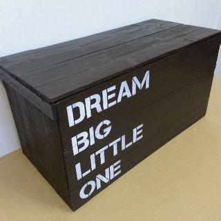 【受注生産 B18】ふた付きりんご箱(黒地×白ペイント) 各種オプションあり(玄関収納)