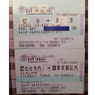 ジェイアール(JR)の仙台→東京 新幹線指定席チケット(鉄道乗車券)