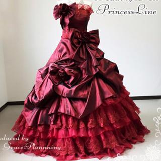 カラードレス✴︎ワインレッド 結婚式 お色直し用(ウェディングドレス)