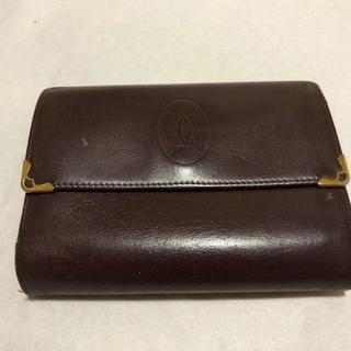 カルティエ(Cartier)のCartierマスト小銭入れ付きボルドーレザー三つ折り財布(財布)