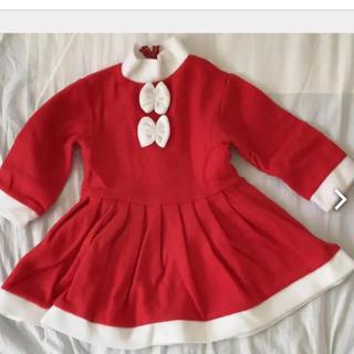 クリスマス サンタ 衣装 女の子 帽子付き 新品未使用 80(ワンピース)