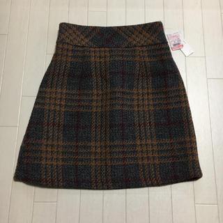 シマムラ(しまむら)のツイード チェック スカート グレー 赤 オレンジ(ひざ丈スカート)