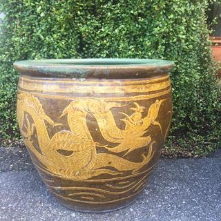 巨大 鉢 骨董 美術 龍紋 壺 花器 植木 水瓶 花瓶 陶器(陶芸)
