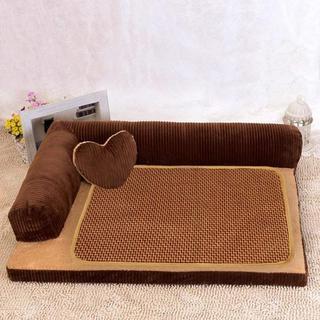 愛犬も大喜びのふかふかな寝床★ペット 専用 モコモコ ベッド ブラウン L