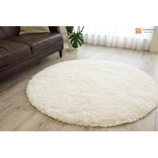 ラグ 洗えるカーペット 円形 140cm スノーホワイト(ラグ)