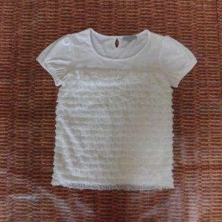 シマムラ(しまむら)のしまむら 白 半袖 Tシャツ ラメ フリル プチ リボン 白 パフスリーブ(Tシャツ(半袖/袖なし))