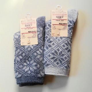 MUJI (無印良品) - 無印良品 ウール混足なり直角 雪柄靴下