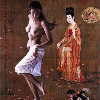 ヌードの女の子の油絵(絵画/タペストリー)