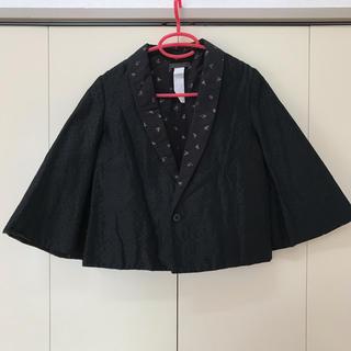 ナンバージュウイチ(n゜11)のナンバー11 ジャケット バラ 黒 ポンチョ 個性的 セレクト(ノーカラージャケット)