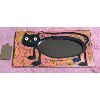 木彫り 猫 ネコ 鏡 壁掛け スタンド(スタンドミラー)