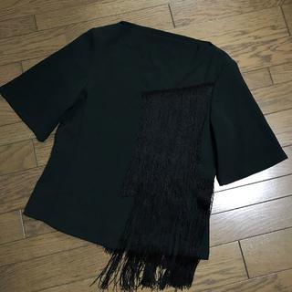 ザラ(ZARA)のザラZARA フリンジ付ボートネック ディープグリーン深緑5分袖カットソー(Tシャツ(半袖/袖なし))