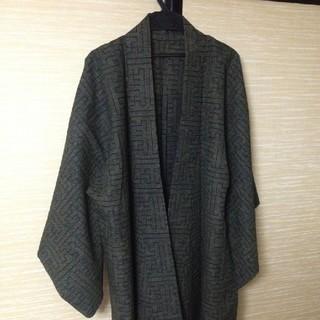 男女兼用着物リメイク ノーカラージャケット 焦げ茶色!!(ノーカラージャケット)