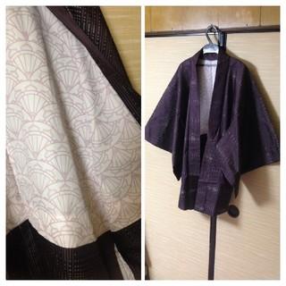 男女兼用着物リメイクノーカラージャケット パープル 羽織(ノーカラージャケット)