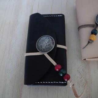ハンドメイド レザー 名刺入れ カードケース (ブラック)(キーケース/名刺入れ)