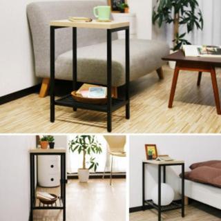 木目調 アイアン フレーム サイドテーブル デスク(コーヒーテーブル/サイドテーブル)