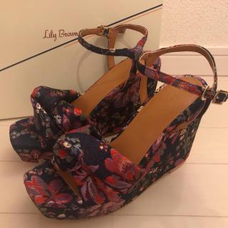 Lily Brown - リリーブラウン 未使用 #M 約23cm 花柄 刺繍 サンダル