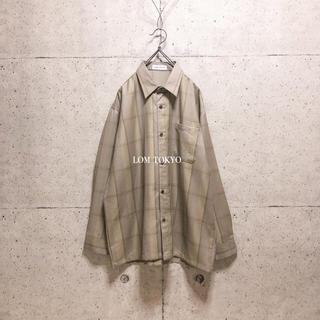 [used]brown beige plaid wool mix shirt.(シャツ)