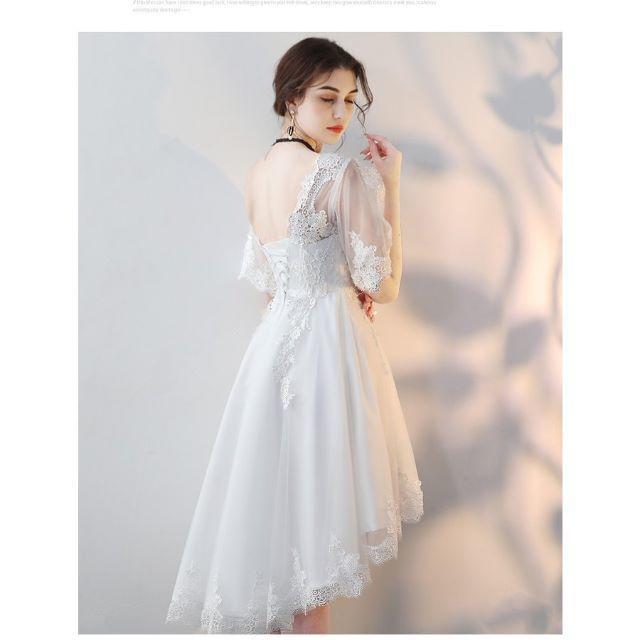 9058a97102f3e パーティードレス ウェディングドレス ミニ カラードレス 袖あり 白 レディースのフォーマル ドレス(