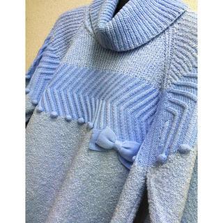 ギャラリービスコンティ(GALLERY VISCONTI)のビスコンティ新品♡配色デザインポップリボン飾りオフタートルニットチュニック(ニット/セーター)