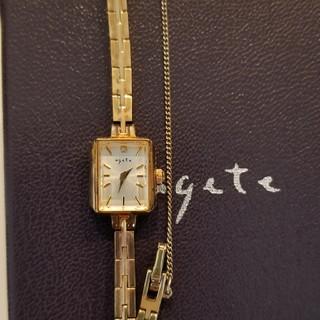 アガット(agete)のagete アガット 時計 スクエアウォッチ イエローゴールド(腕時計)