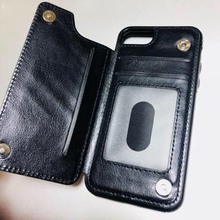 ムジルシリョウヒン(MUJI (無印良品))の新品 ◆ iPhone8 & 7 ケース 背面 レザー 黒 手帳 革  (iPhoneケース)