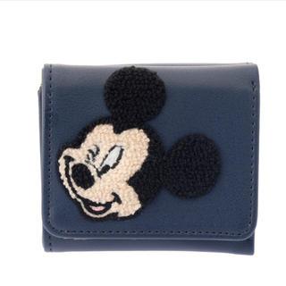 ディズニー(Disney)のディズニー ミッキー さがら織 サガラ刺しゅう 刺繍 折り財布 財布 ウォレット(財布)