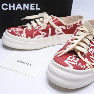 シャネル(CHANEL)のシャネル キャンパス ヴィンテージ スニーカー レッド ホワイト 美品 05C (スニーカー)
