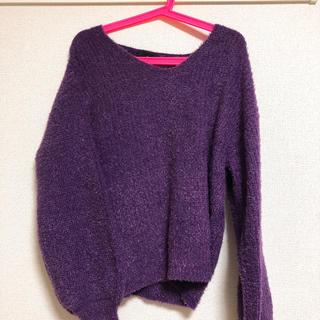 ニット セーター フェザー 紫パープル(ニット/セーター)