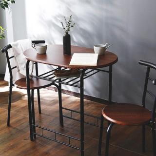 コンパクト収納! ダイニングテーブル 3点 セット ウォルナット(コーヒーテーブル/サイドテーブル)