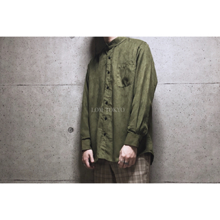 [used]khaki suède stand collar shirt.(シャツ)