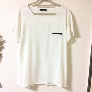 ザラ(ZARA)の美品!!ZARAシフォントップス白L Tシャツ(Tシャツ(半袖/袖なし))