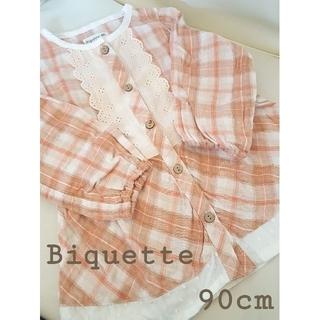 ビケット(Biquette)のビケット チェック柄チュニックワンピース 90cm(ワンピース)