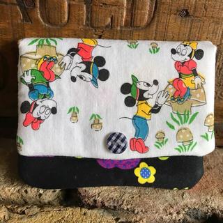 ディズニー(Disney)のハンドメイド レア柄ヴィンテージシーツ ミキミニ コンパクト財布 カードケース(財布)