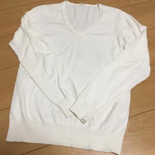 MUJI (無印良品) - 無印 コットンシルクVネックセーター L 白
