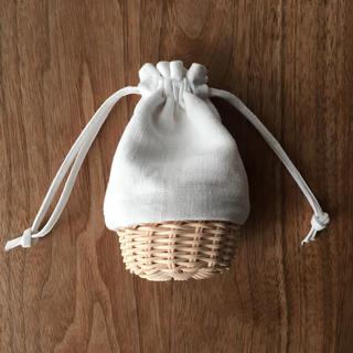ネストローブ(nest Robe)の...fore...アンティークリネン巾着 S かご(かごバッグ/ストローバッグ)