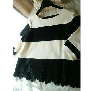 エムズグレイシー(M'S GRACY)の♡レースのカットワーク裾♡カジュアルな薄手のトレーナー(カットソー(長袖/七分))