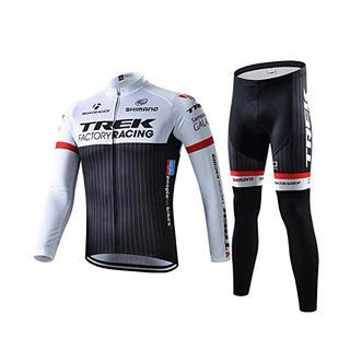 トレクスタ(Treksta)のTREK高弾力自転車 サイクルジャージ上下セット長袖 吸汗速乾 秋冬通気裏起毛M(ウエア)