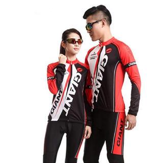 ジャイアント(Giant)のGiant長袖サイクルジャージセット 自転車ウェア 男女兼用 吸汗高弾力レッドS(ウエア)