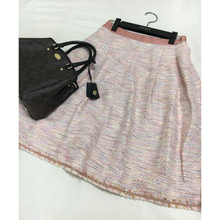 エポカ(EPOCA)の美品 EPOCA フレア スカート ピンク ツイード エポカ(ひざ丈スカート)