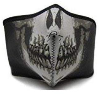 ◆ スカルフェイスマスク[サバゲー オートバイ スノボ 他] ハーフマスク(ネックウォーマー)
