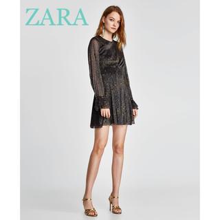 ザラ(ZARA)のsale!新品タグ付☆ZARAザラ☆シャイニースター柄ドレス(ミニワンピース)