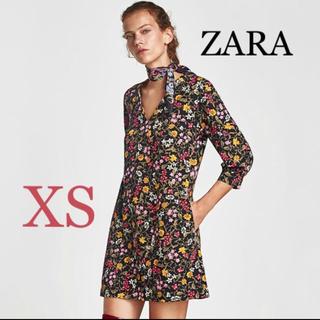 ザラ(ZARA)のZARA フラワープリント ワンピース 花柄 バルーンスリーブ(ミニワンピース)