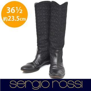 セルジオロッシ(Sergio Rossi)のセルジオロッシ 異素材 ステッチ ロングブーツ 36 1/2(約23.5cm)(ブーツ)