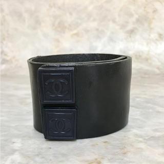 CHANEL - 正規品 シャネル ブレスレット レザー ココマーク 革 ブラック 黒 ホック