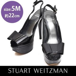 スチュワートワイツマン(Stuart Weitzman)のスチュワートワイツマン エナメル リボン バックバンド パンプス 5M(約22(ハイヒール/パンプス)