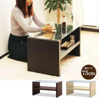 【期間限定割引】幅75cm ガラス センターテーブル(コーヒーテーブル/サイドテーブル)