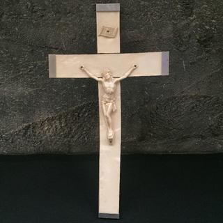 フランス アンティーク キリスト 十字架 クロス 壁掛 シェル(彫刻/オブジェ)