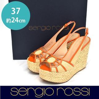 セルジオロッシ(Sergio Rossi)の美品❤セルジオロッシ バックバンド ウェッジサンダル 37(約24cm)(サンダル)