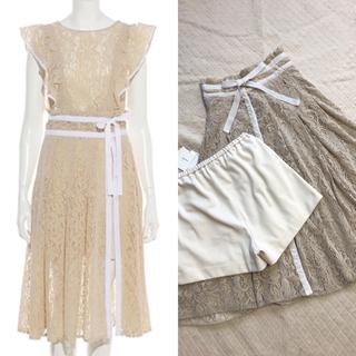 リリーブラウン(Lily Brown)の今季Lily Brown♡フロッキーラップ風スカートパンツ♡オフホワイト(その他)